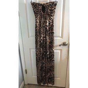 Strapless cheetah maxi dress